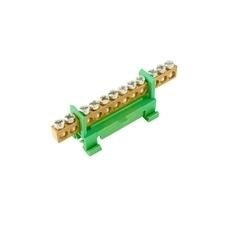 EL 1000009 Můstek PE 12 (svorkovnice 12x16mm2), nekrytý IP00, zelený, 63A, na DIN