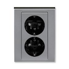 ABB 5522H-C03457 69 Jiné systémy zásuvek Zásuvka dvojnásobná s ochrannými kontakty (podle DIN), s cl