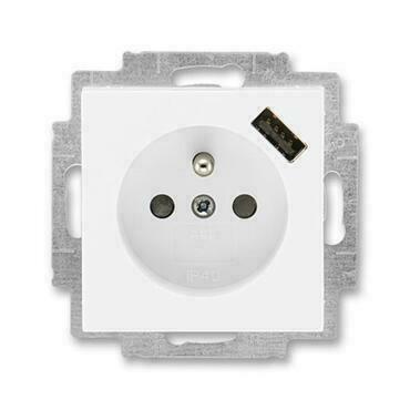 ABB 5569H-A02357 03 Levit Zásuvka 1násobná s kolíkem, s clonkami, s USB nabíjením