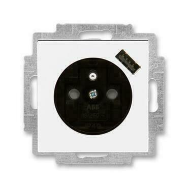 ABB 5569H-A02357 62 Levit Zásuvka 1násobná s kolíkem, s clonkami, s USB nabíjením