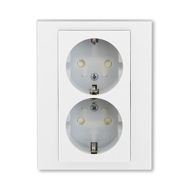 ABB 5522H-C03457 01 Jiné systémy zásuvek Zásuvka dvojnásobná s ochrannými kontakty (podle DIN), s cl