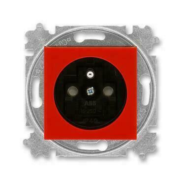 ABB 5519H-A02357 65 Levit Zásuvka jednonásobná s ochranným kolíkem, s clonkami