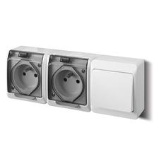FAM GALATEA IP44 Přepínač střídavý č.6+zásuvka 2x 2P+PE (bílá / průhledné víčko)