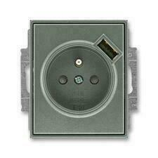 ABB 5569E-A02357 34 Time Zásuvka 1násobná s kolíkem, s clonkami, s USB nabíjením
