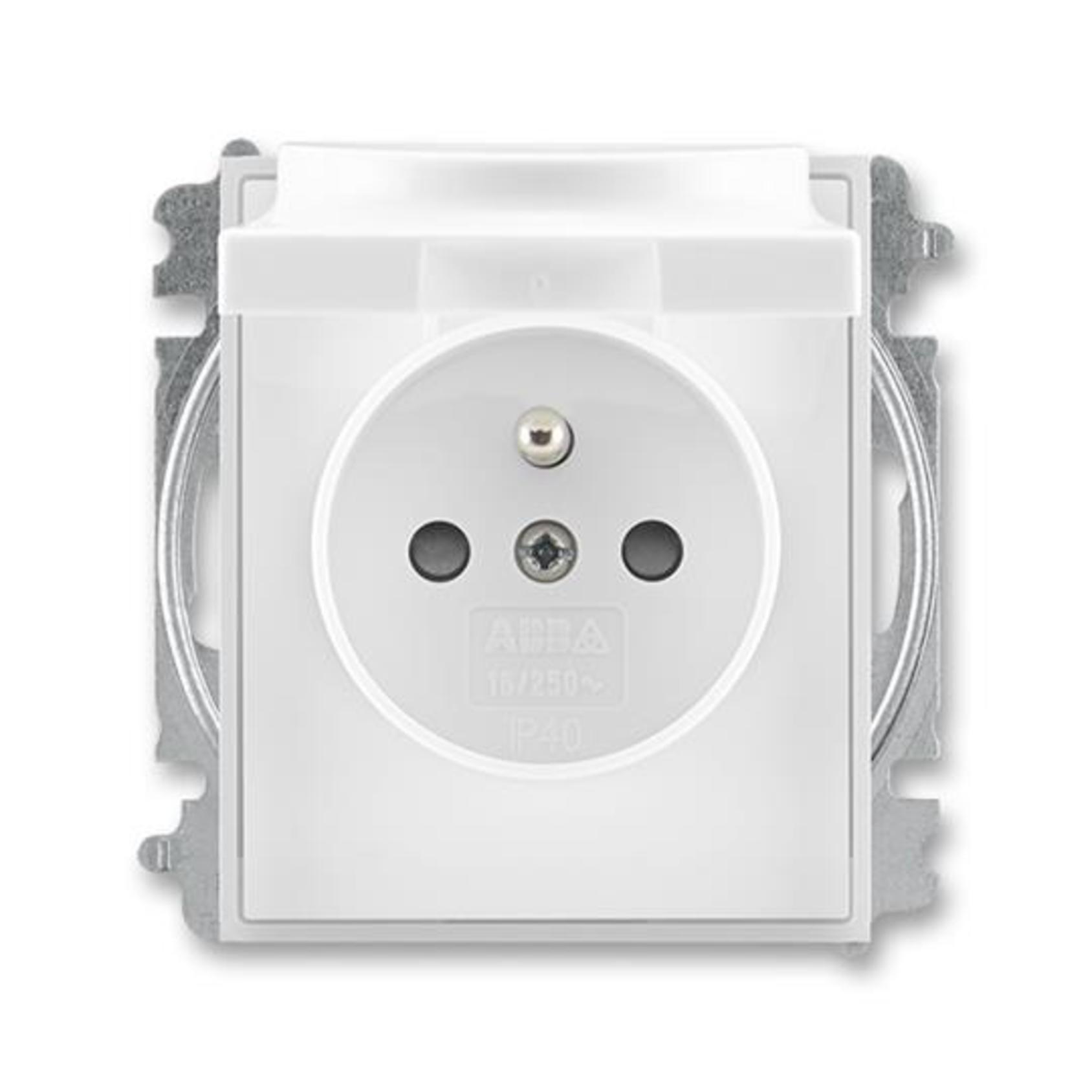 ABB 5519E-A02397 01 Element Zásuvka jednonásobná, chráněná, s clonkami a víčkem, s bezšroub. sv.