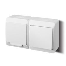 FAM GALATEA IP44 Přepínač střídavý č.6+zásuvka 2P+PE (bílá)