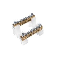 EL 1000318 Svorkovnice N/PE mosazná RK 2/63 (6,5x9mm), IP00, 2x5 přip. míst, 16mm2, 63A, na DIN lišt
