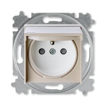ABB 5519H-A02997 18 IPxx Zásuvka jednonásobná s ochr. kolíkem, s clonkami, s víčkem, IP44