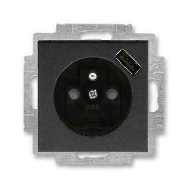 ABB 5569H-A02357 63 Levit Zásuvka 1násobná s kolíkem, s clonkami, s USB nabíjením