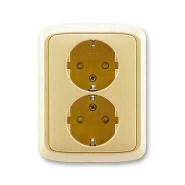 ABB 5512A-3459 D Jiné systémy zásuvek Zásuvka dvojnásobná s ochrannými kontakty (podle DIN), s clonk