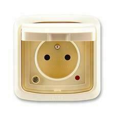 ABB 5598A-2999C IPxx Zásuvka jednonásobná s víčkem, s ochranou před přepětím, IP44