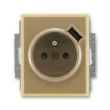 ABB 5569E-A02357 25 Element Zásuvka 1násobná s kolíkem, s clonkami, s USB nabíjením