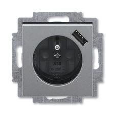 ABB 5569H-A02357 69 Levit Zásuvka 1násobná s kolíkem, s clonkami, s USB nabíjením