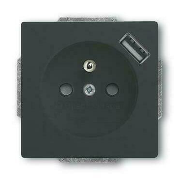 ABB 2CKA002017A0893 Future Zásuvka 1násobná s ochr. kolíkem a clonkami, bezšr. svorky, USB nabíjení
