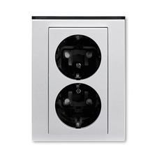 ABB 5522H-C03457 70 Jiné systémy zásuvek Zásuvka dvojnásobná s ochrannými kontakty (podle DIN), s cl