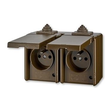 ABB 5518-2069 H Zásuvka dvojnásobná pro průběžnou montáž, IP44 IPxx