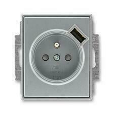 ABB 5569E-A02357 36 Time Zásuvka 1násobná s kolíkem, s clonkami, s USB nabíjením