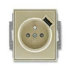 ABB 5569E-A02357 33 Time Zásuvka 1násobná s kolíkem, s clonkami, s USB nabíjením