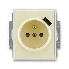 ABB 5569E-A02357 21 Element Zásuvka 1násobná s kolíkem, s clonkami, s USB nabíjením
