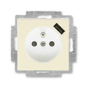 ABB 5569H-A02357 17 Levit Zásuvka 1násobná s kolíkem, s clonkami, s USB nabíjením