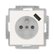ABB 5569H-A02357 68 Levit Zásuvka 1násobná s kolíkem, s clonkami, s USB nabíjením