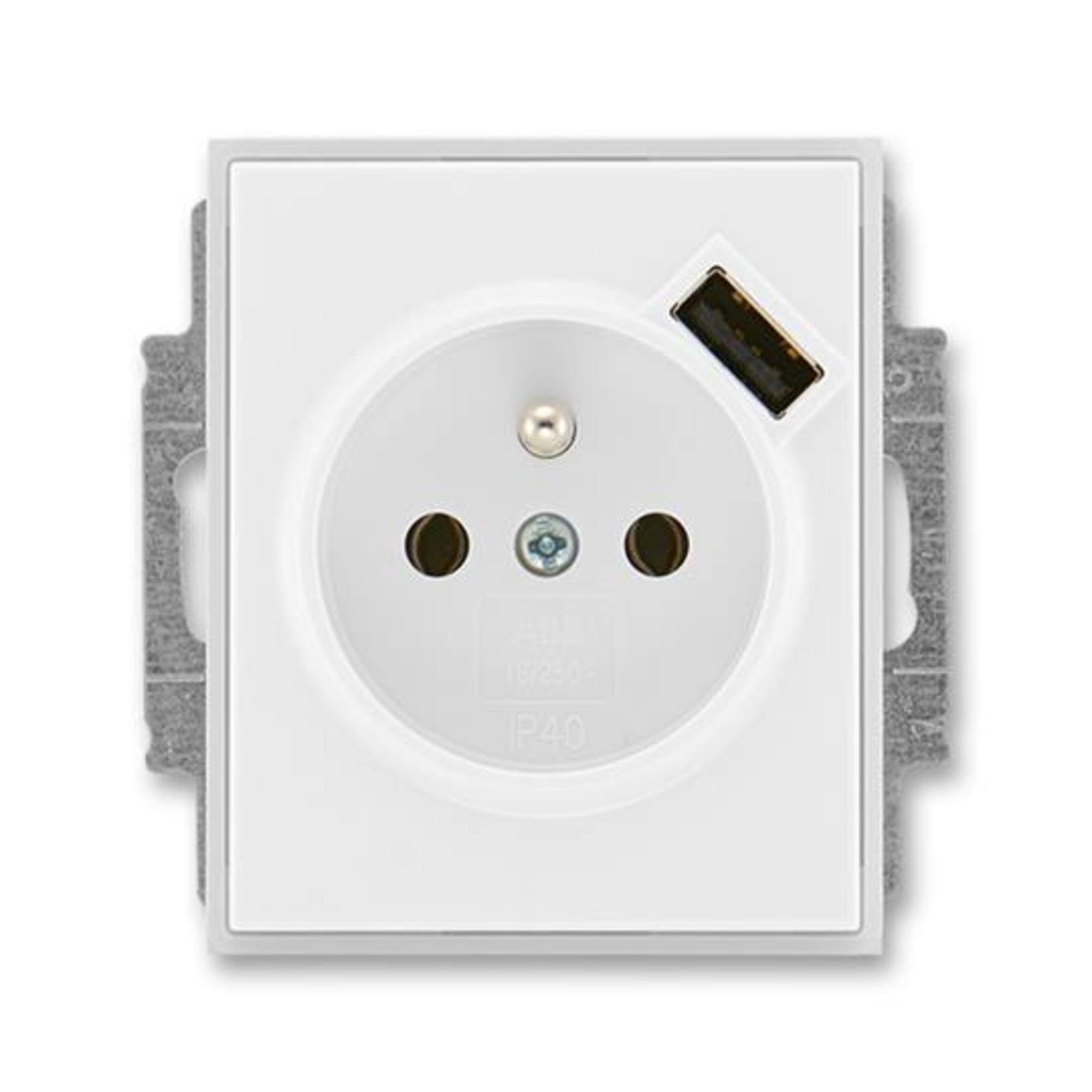 ABB 5569E-A02357 01 Element Zásuvka 1násobná s kolíkem, s clonkami, s USB nabíjením