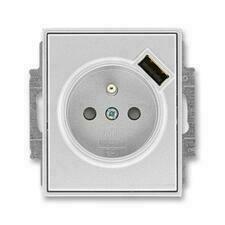 ABB 5569E-A02357 08 Time Zásuvka 1násobná s kolíkem, s clonkami, s USB nabíjením
