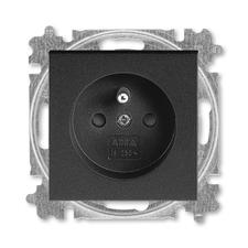 ABB 5519H-A02557 63 Levit Zásuvka jednonásobná 55x55, s ochranným kolíkem, s clonkami