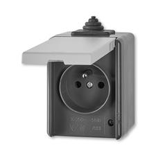 ABB 5518-2929 S Zásuvka jednonásobná s víčkem, IP44 IPxx
