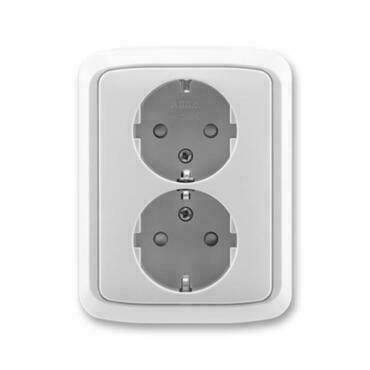 ABB 5512A-3459 S Jiné systémy zásuvek Zásuvka dvojnásobná s ochrannými kontakty (podle DIN), s clonk