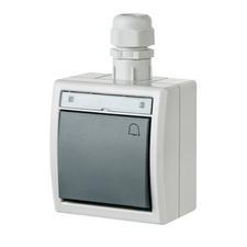 """FAM ATLAS IP65 Tlačítko symbol """"zvonek"""" č.1/0 s vývodkou M20, na povrch, šedý"""