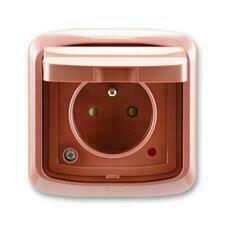 ABB 5598A-2999R2 IPxx Zásuvka jednonásobná s víčkem, s ochranou před přepětím, IP44