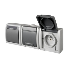 FAM ATLAS IP55 Přepínač č.6+zásuvka 2x 2P+PE, 2-násobná vodorovně s ochr. kolíkem, šedý