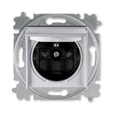 ABB 5519H-A02997 70 IPxx Zásuvka jednonásobná s ochr. kolíkem, s clonkami, s víčkem, IP44