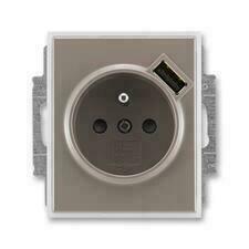 ABB 5569E-A02357 26 Time Zásuvka 1násobná s kolíkem, s clonkami, s USB nabíjením