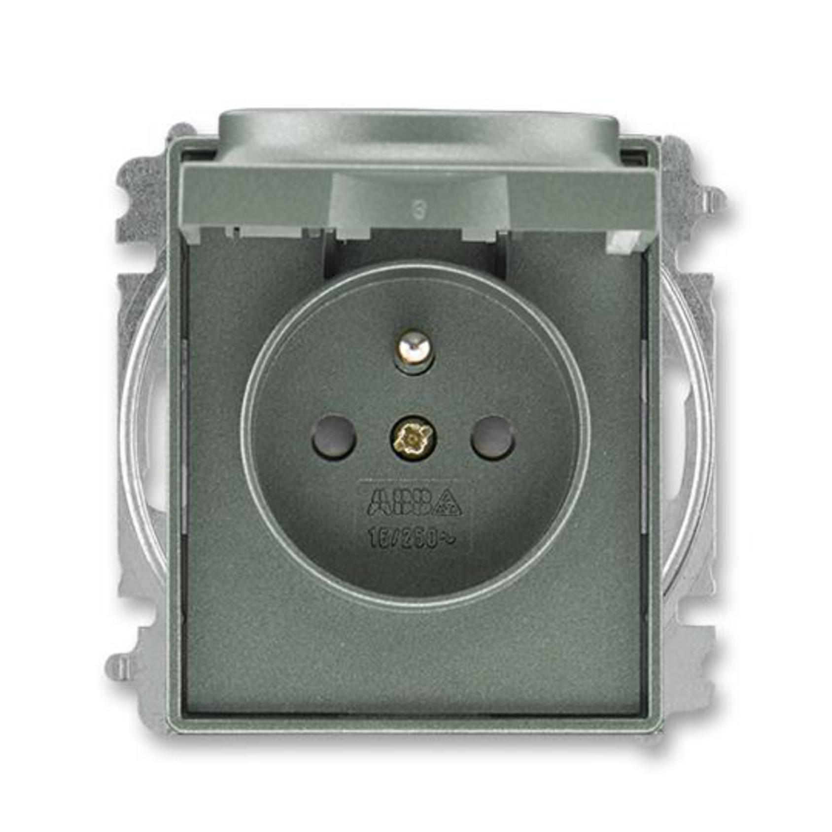 ABB 5519E-A02397 34 Time Zásuvka jednonásobná, chráněná, s clonkami a víčkem, s bezšroub. sv.