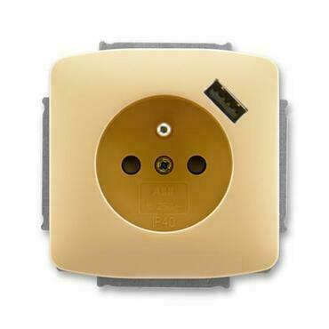 ABB 5569A-A02357 D Tango Zásuvka 1násobná s kolíkem, s clonkami, s USB nabíjením