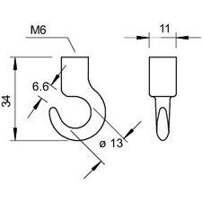 2081 M6 G Stropní hák