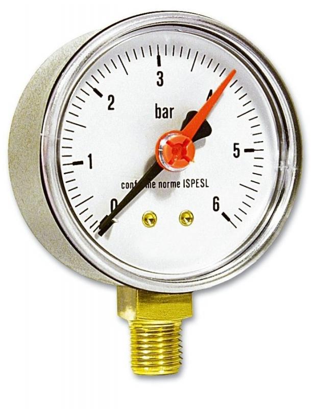 """Manometr spodní 63 mm, 1/4"""", 0-4 bar"""