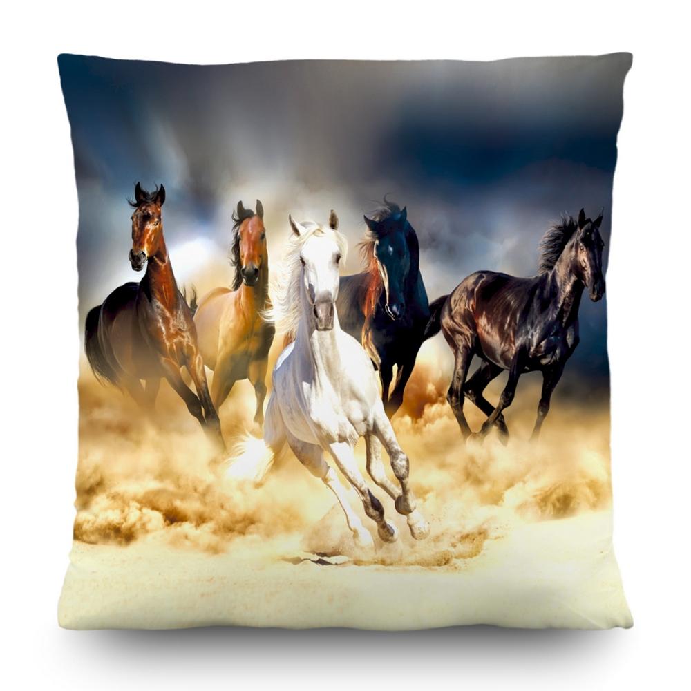 Dekorační polštář s motivem koně, 45×45 cm, cena za ks