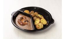 Chlazené - Vepřová kotleta na houbách, brambory ve slupce