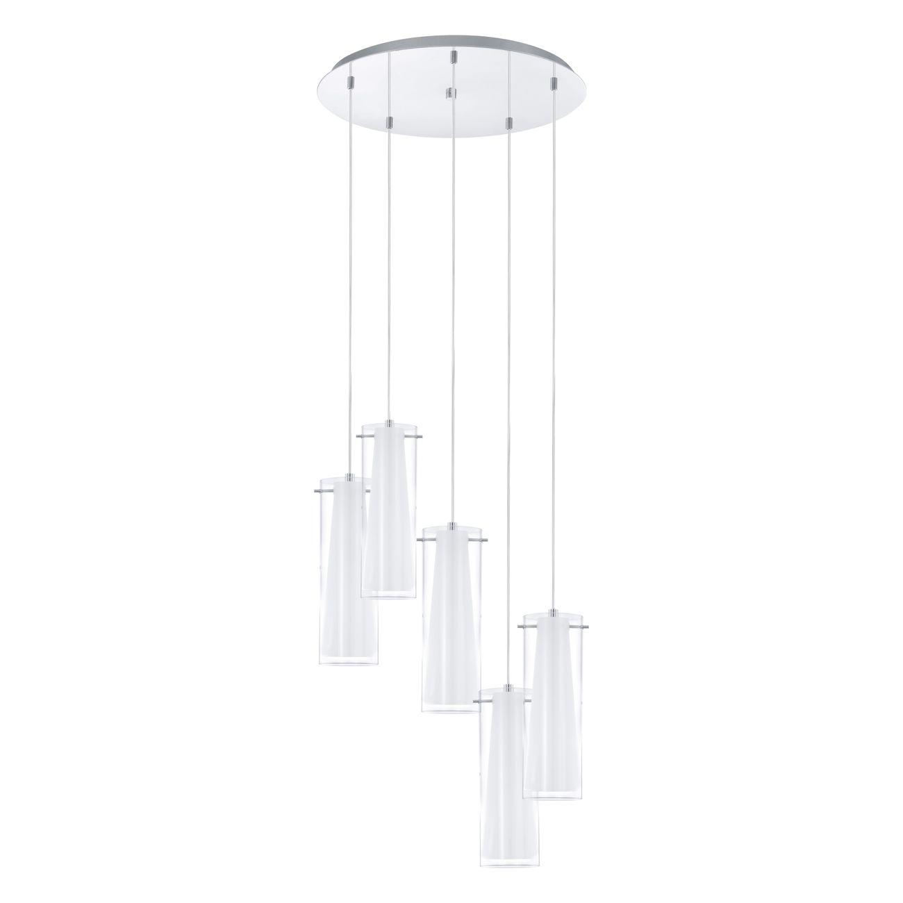 Svítidlo závěsné PINTO 5×E27 chrom/čiré a opálové bílé sklo