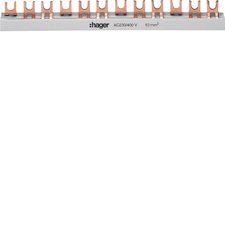 Lišta propojovací Hager, 3pól, 19 modulů, vidlička