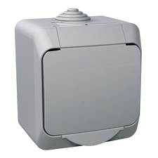 Zásuvka jednonásobná Cedar, šedá, IP 44