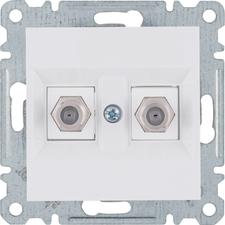 2×F-konektor Hager lumina, bílá