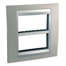 Rámeček  čtyřnásobný, Schneider  Unica Top, nikl/aluminium