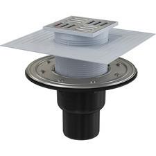 Podlahová přímá vpusť Alcaplast APV4344 105×105 - DN 50/75 s nerezovou mřížkou