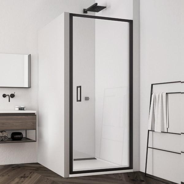 Dveře jednokřídlé SanSwiss TLSP 800 mm, Black Line, čiré