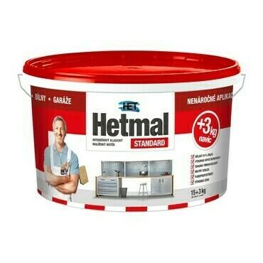 Malba interiérová HET Hetmal Standard bílá, 15+3 kg