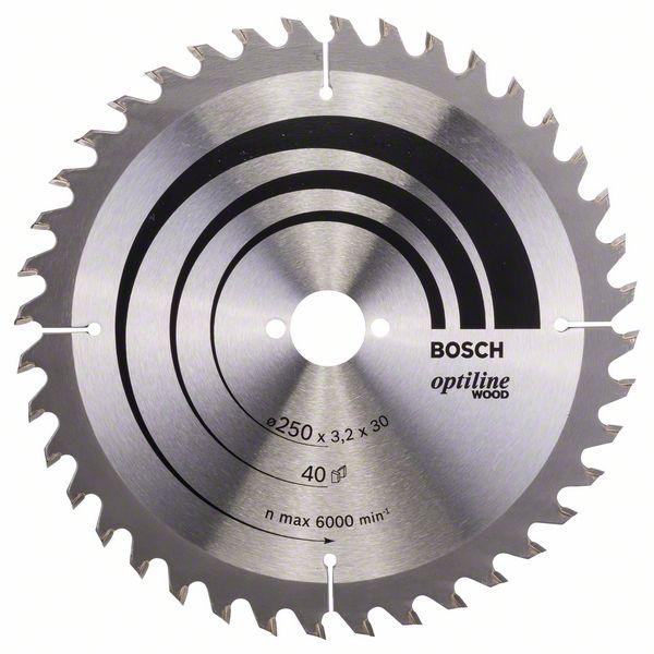 Kotouč pilový Bosch Optiline Wood 250×30×2,2 mm 40 z.